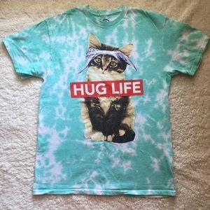 Cat Kitten Tie Dyed Hug Life Tee